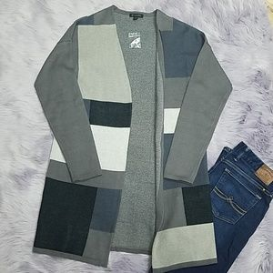 H by Halston Grey Blue Block Cardigan NWT
